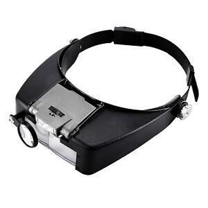Magnifying Glass Headset LED Light Head Headband 10X Magnifier Loupe With Box UK