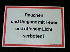 """altes Schild """"Rauchen Umg offenes Licht ist verboten"""" Gebotsschild Verbotsschild"""