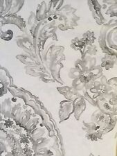 Tahari Cotton Blend Fabric Shower Curtain COGNAC DAMASK Gray, White