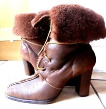 Russell & Bromley Tan shearling sheepskin leather boots 39 UK6