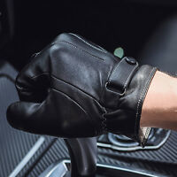 Men Black Winter Leather Motorcycle Full Finger Touch Screen Warm Gloves Chic