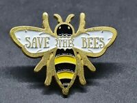 Save The Bees Pin Badge Bumble Bee Gold Tone Metal Enamel Brooch Broach