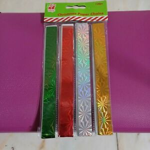 120 Coloured Foil Paper Chain Xmas Decorations Self adhering no glue hologram