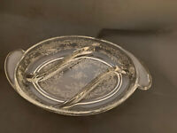 """Vintage Fostoria Glass Stunning 3 Part Divided Dish With Beautiful Etch 12"""""""