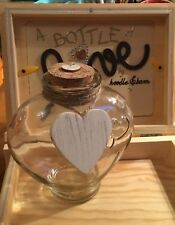 1 x Large decorative glass bottle shabby chic Flat heart with jute 13x12 cm