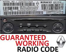 Renault Master + Trafic + Scenic + Clio + radio Megane Code Déverrouillage – parfait travail codes