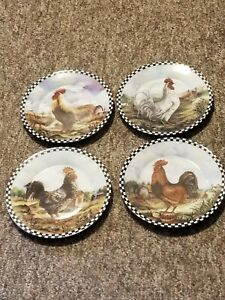 """Beautiful Set Of 4 Decorative 8"""" Rooster Plates"""