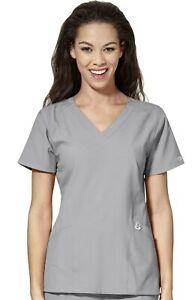 "Wink Scrubs #6155 V-Neck Detailed Scrub Top in ""Grey"" Size L"