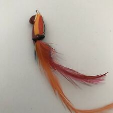 Orange Parrot with Real Tail Feathers Barrette J0273