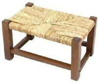 SGABELLO BASSO POGGIAPIEDI LEGNO naturale c/paglia rustico e vintage sgabellino