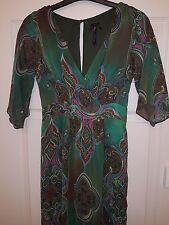 Ladies NEXT long maxi dress boho lined chiffon green paisley size 10 party smart
