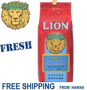 CHOCOLATE MACADAMIA Nut 10oz Ground Coffee Lion Hawaii FRESH BB 6/22 Indulgent