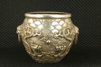 chinese old tibet silver handwork big dragon statue pot