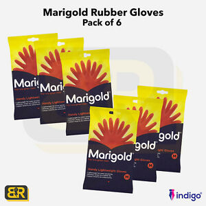 Marigold Rubber Gloves Red Cotton Lined Medium Extra Sensitivity Pack of 6