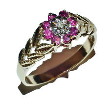 Vintage 9ct Yellow Gold, Ruby & Diamond Cluster Ring - UK Size: S 1/2