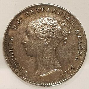 1840 Young Head Victoria AU Three Pence Silver Coin