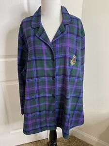 Women's Lauren Ralph Lauren Plaid Flannel Pajama Sleep Shirt •Size 3X *EUC