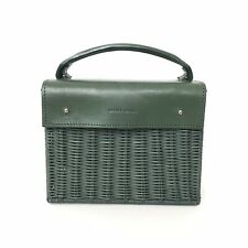 NEW WICKER WINGS Green Kuai Rattan & Leather Tote Box Bag with Cross Body Strap