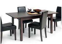 STYLISH EXTENDING RECTANGULAR DINING TABLE 120-160cm / 47''-63''– DARK BROWN
