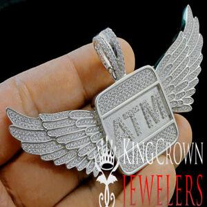 Real White Gold Silver Custom Piece ATM Eagle Wings Pendant Simu Diamond Charm