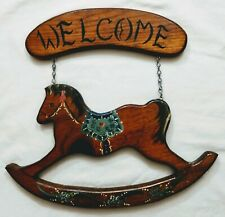 Wooden Welcome Sign Rocking Horse Country Door Wall Hanging Vintage