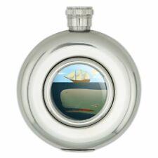Sperm Whale Under Ship Round Stainless Steel 5oz Hip Drink Flask