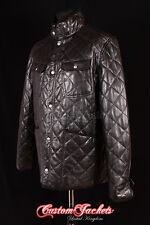 Men's NORFOLK Black Diamond QUILTED Winter Puffer Lambskin Leather Jacket Coat