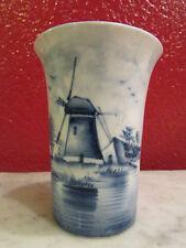 ancien petit vase en delft epoque 1900 porcelaine decor de moulin