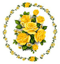 VinTaGe ImaGe GorGeouS YeLloW RinGs Of RoSeS ShaBby WaTerSliDe DeCals