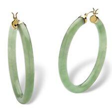 Yellow Gold Hoop Earrings Genuine Green Jade 10k