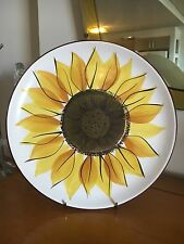 MINT! COOL RETRO VINTAGE MEXICAN STONEWARE SUNFLOWER CAKE PLATE!