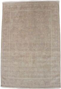 New Muted Tan Floral Design 6X8 Handmade Transitional Oriental Rug Wool Carpet