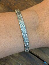 VTG Bangle Sterling Silver Swirl Filigree Chased Bracelet Signed Stackable 7.5
