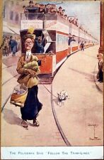 1914 Dudley Buxton/Artist-Signed Postcard: Old Lady/Dog/Trolley/Traim