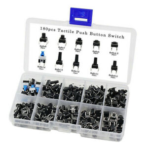 180x New Tactile Push Button Switch Micro Momentary Tact Assorted Kit With Box