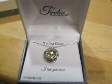 "NEW in box Timeless Sterling Silver LOVE Pendant Necklace 18"" Silver Charm"