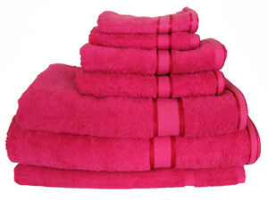 Brand New Quality 7 Pieces 100% Cotton Bath Towel Set -Fuchsia