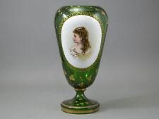JOSEPHINENHUTTE SIGNED PORTRAIT VASE EMERALD GREEN ENAMELLED GILT BOHEMIAN GLASS