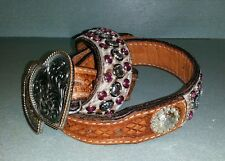 """Pink calf hair silver cowgirl belt studs, rhinestones, and """"crystals""""  S 32"""""""