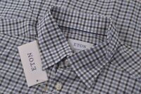 NWT Eton Size US 41 16  Large Contemporary Fit Dress Shirt White Blue Green New