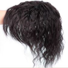 100% Curly Human Hair Topper Short Wavy Toupee Hairpiece Top Wig For Women Man