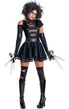 Womens Edward Scissorhands Costume Halloween Tim Burton 90s Film Fancy Dress