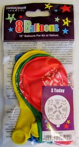 """Pack Of Latex Balloons Printed With """"3 Today"""" - 8 Balloons Mixed Colours"""