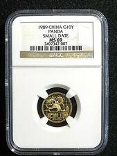 1989, CHINA, Gold Panda Small Date, 1/10 oz, NGC MS-69