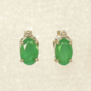 NATURAL EMERALD EARRINGS REAL DIAMONDS 9K WHITE GOLD STUDS MAY BIRTHSTONE NEW