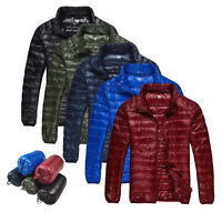 Men Duck Down Jacket Ultra Light Travel Portable Thin Sports Coat Outerwear B186