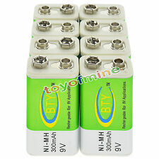 8x 9V 9 Volt 300mAh BTY Green Ni-Mh Rechargeable Battery