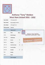 TONY WELDON WEST HAM UTD 1931-1932 EXTREMELY RARE ORIGINAL HAND SIGNED CUTTING
