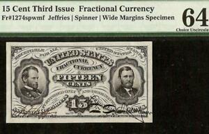 UNC 15 CENT SPECIMEN SHERMAN GRANT FRACTIONAL CURRENCY NOTE Fr 1274spwmf PMG 64