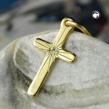 """ECHT GOLD Anhänger """"Kreuz """" mit Brillant !!! diamantiert 12,00 mm x 6,50 mm 8Kt"""